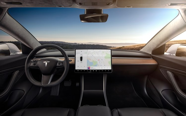 Model 3 dashboard en touchscreen