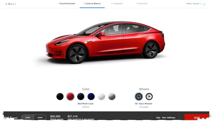 Tesla Model 3 kleur
