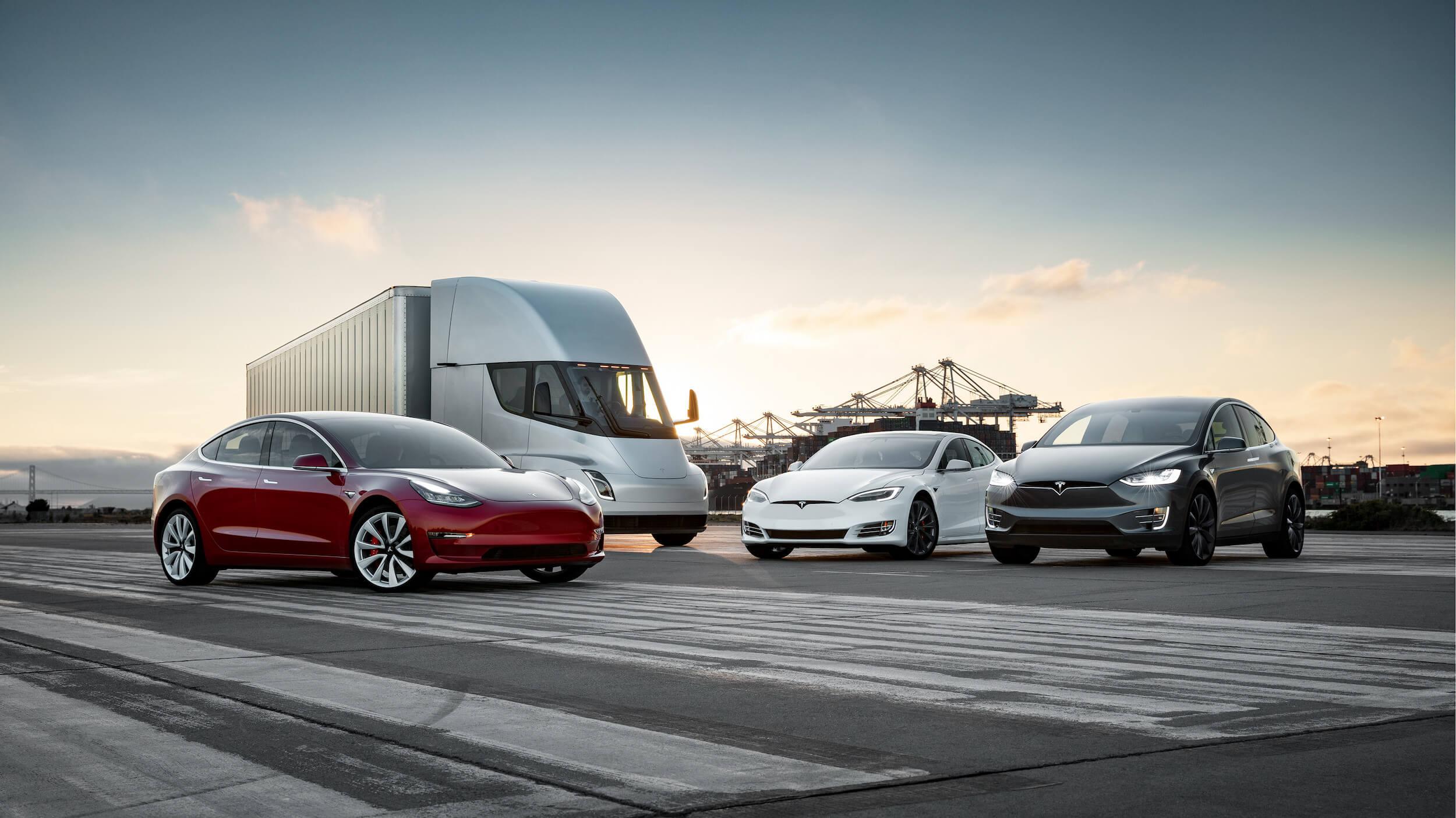 Alle Tesla voertuigen