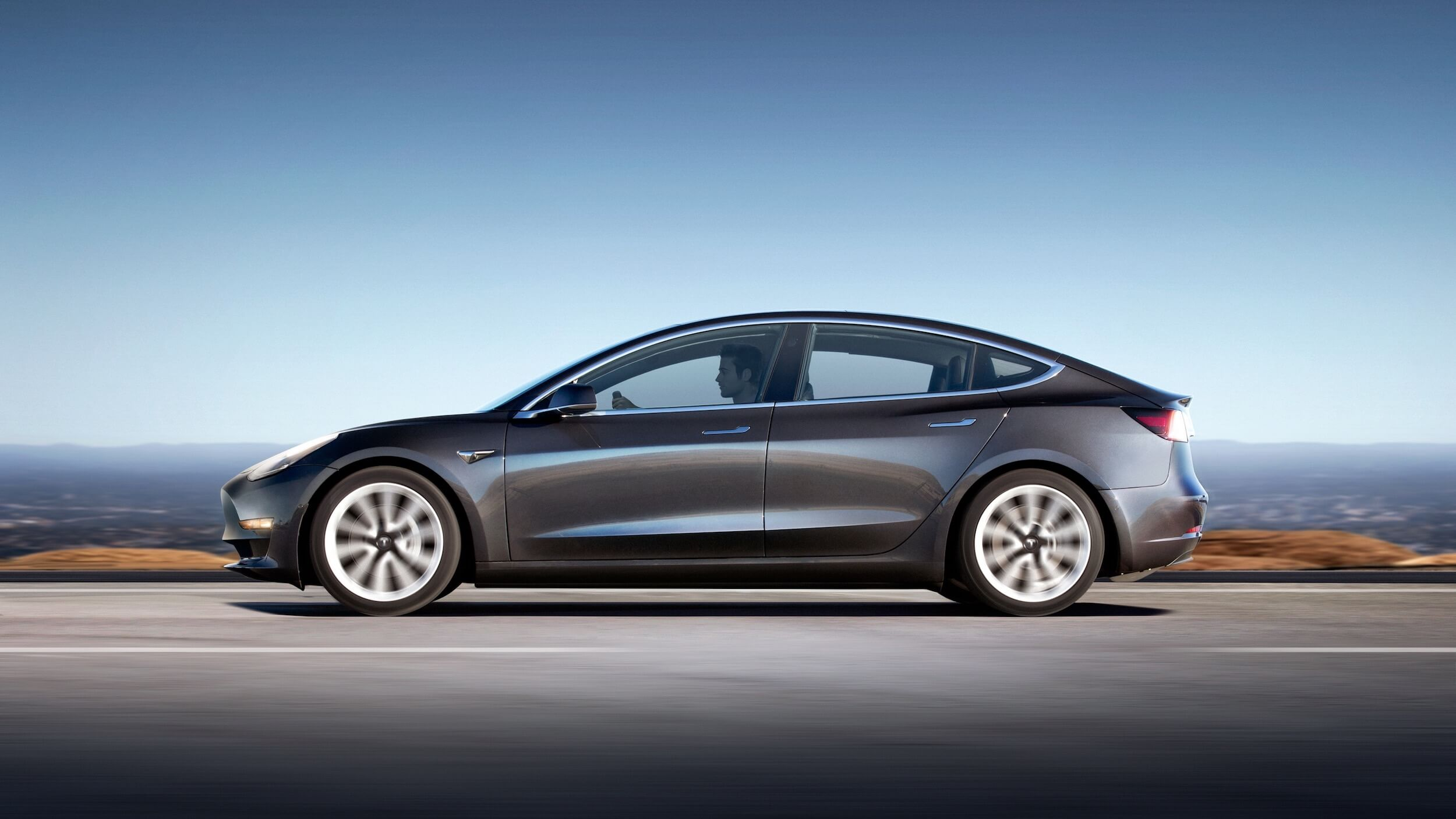 Grijze Tesla Model 3