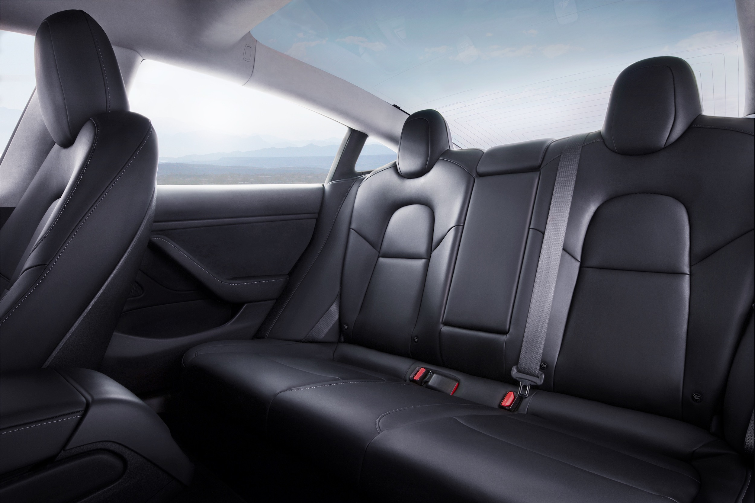 Model 3 Interior Rear Seat Blue Sky