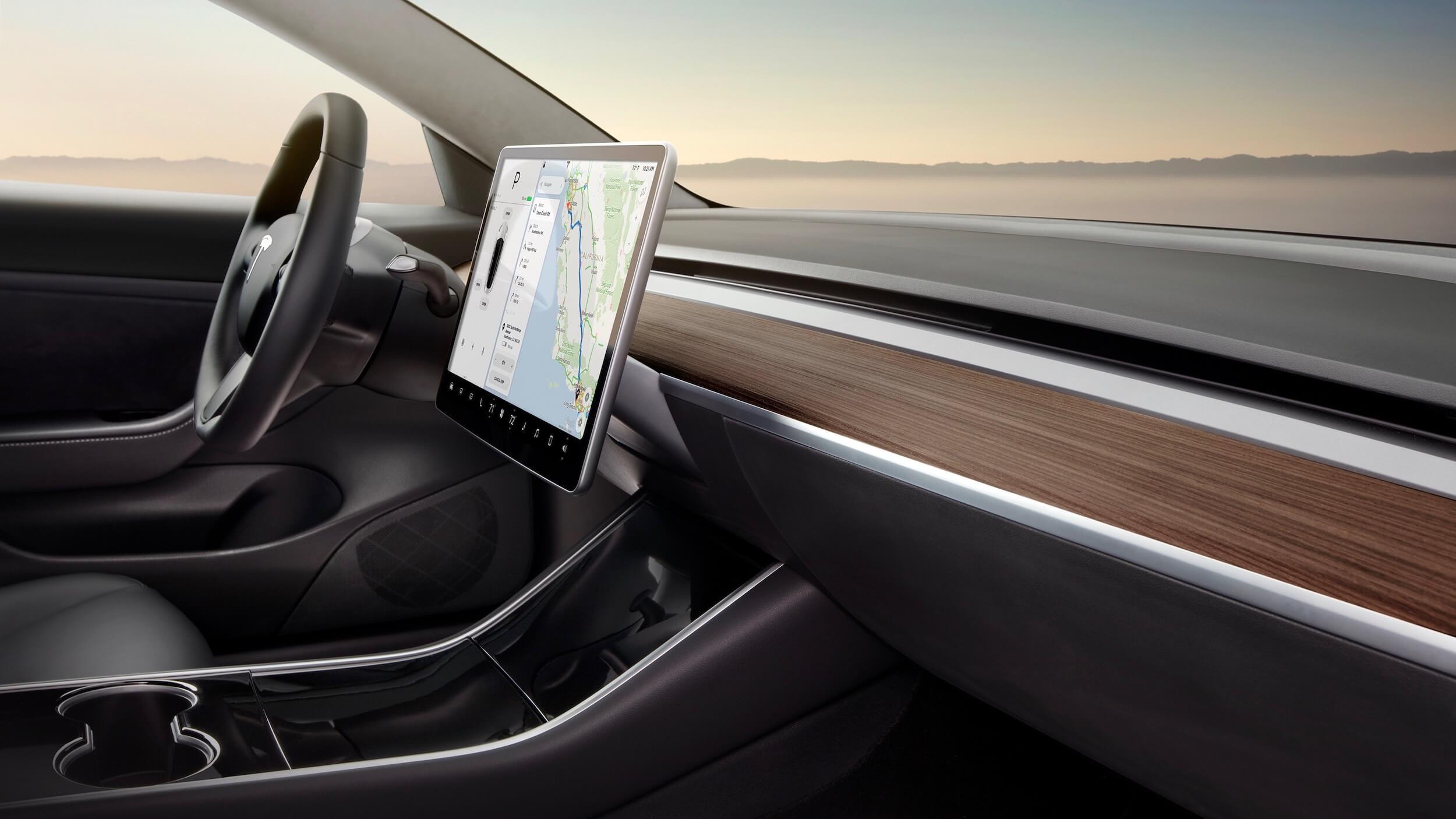 Model 3 dashboard en scherm