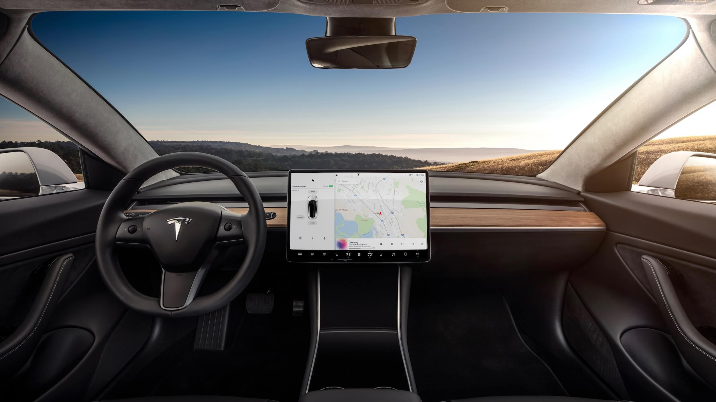 Tesla Model 3 interieur en scherm