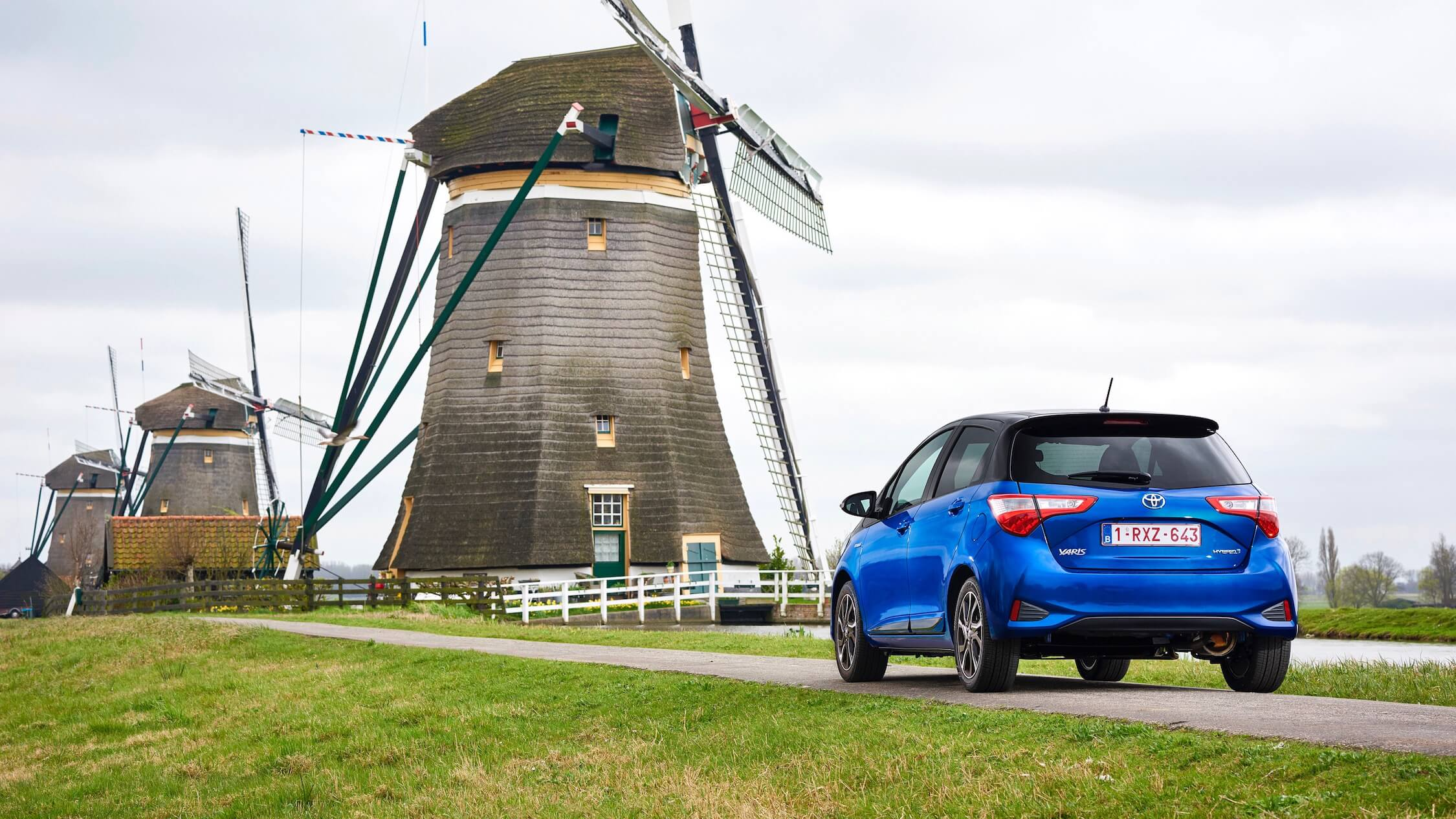 Toyota Yaris and windmill
