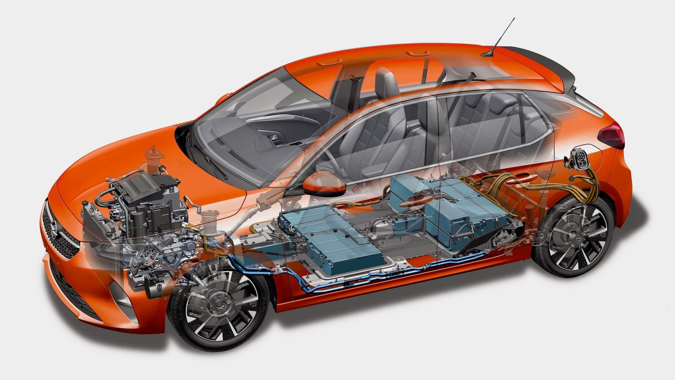 Elektrische Opel Corsa e batterij