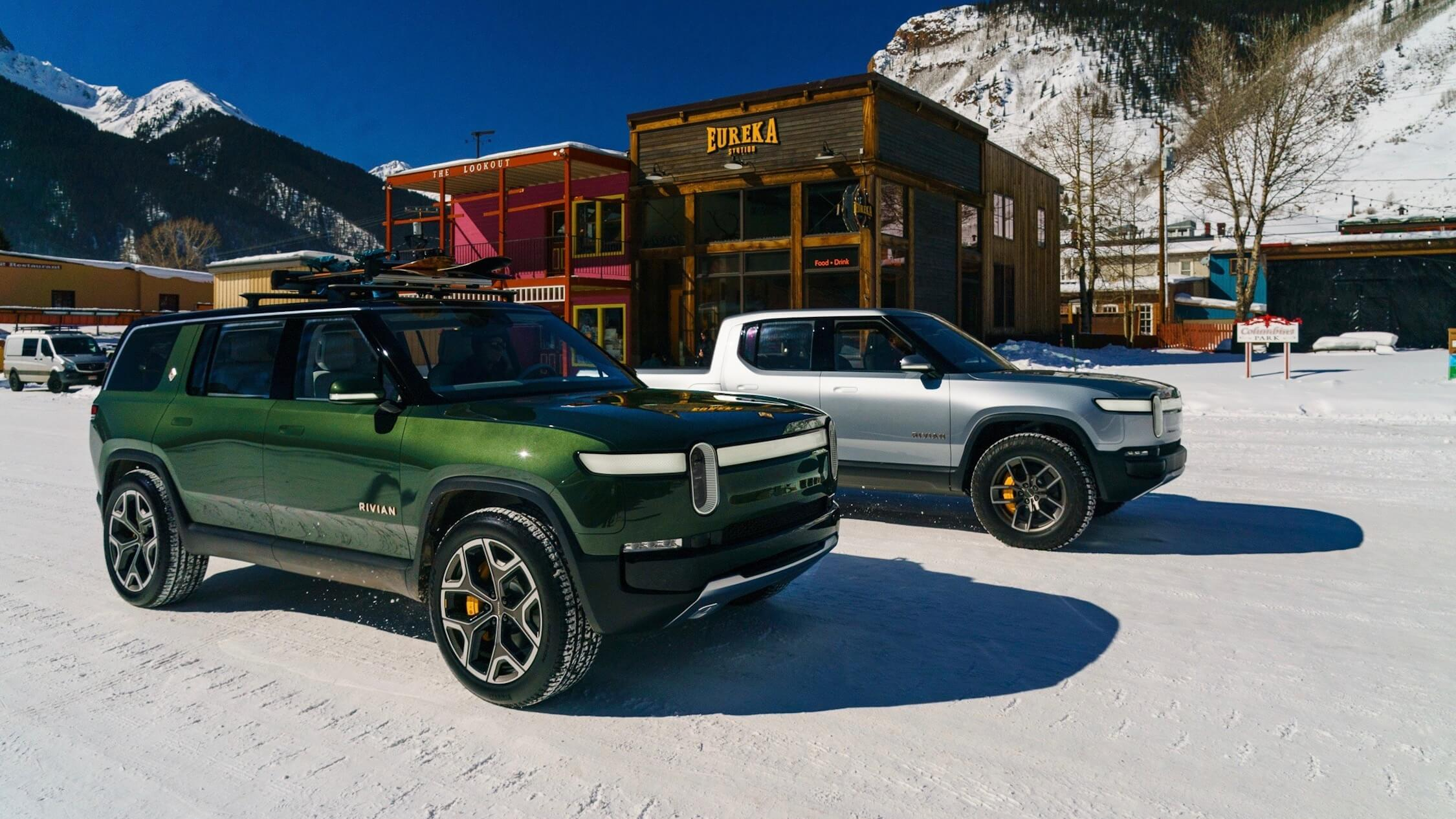 Rivian in snow