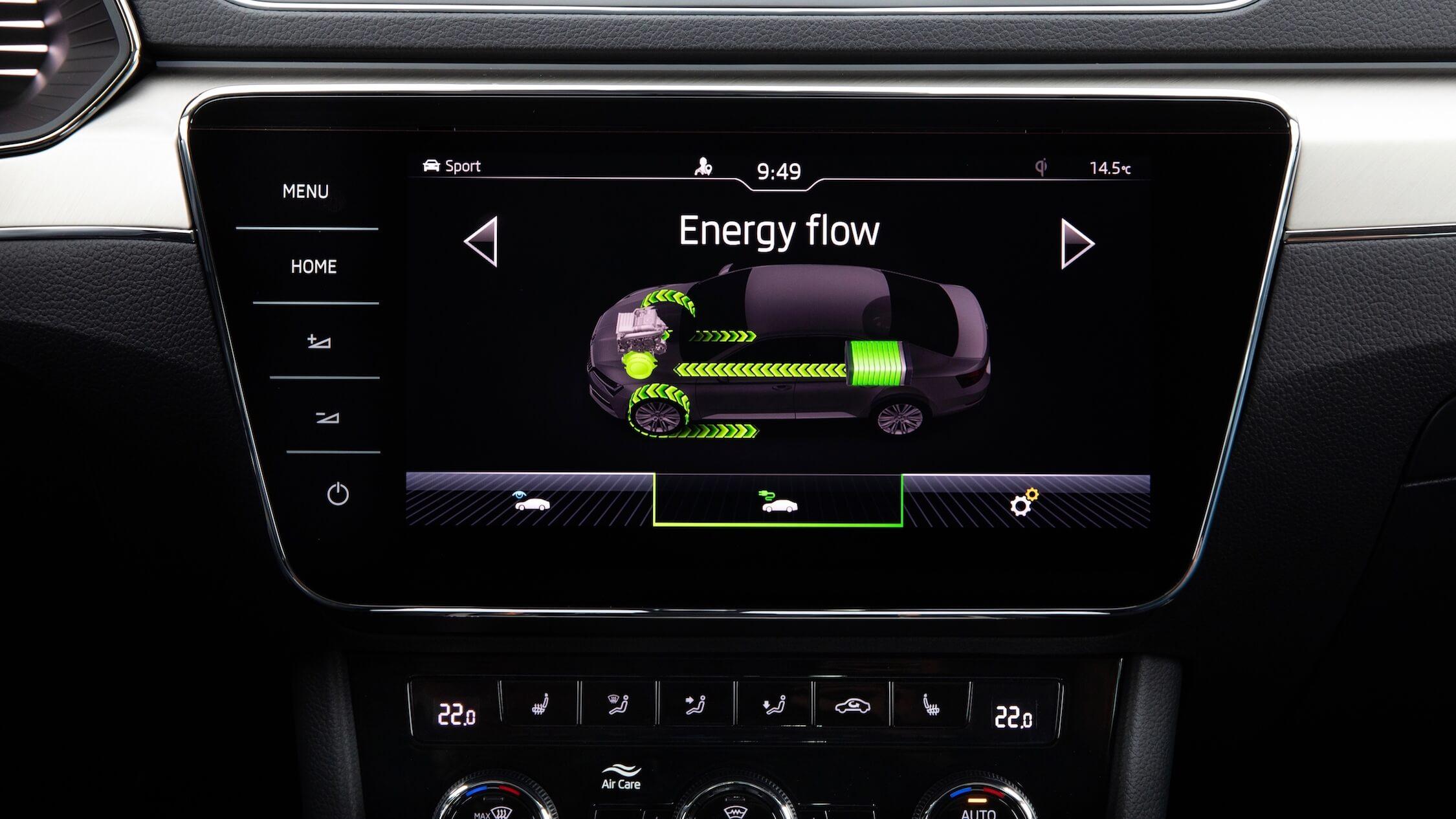plug-in hybride Skoda Superb scherm met batterij percentage
