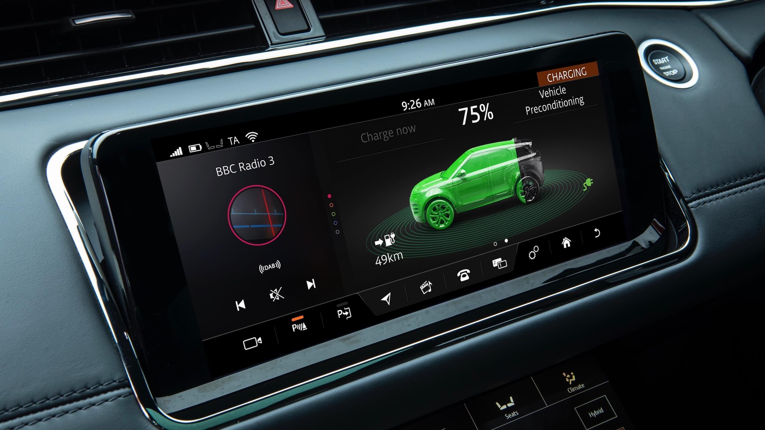Hybride Range Rover Evoque scherm