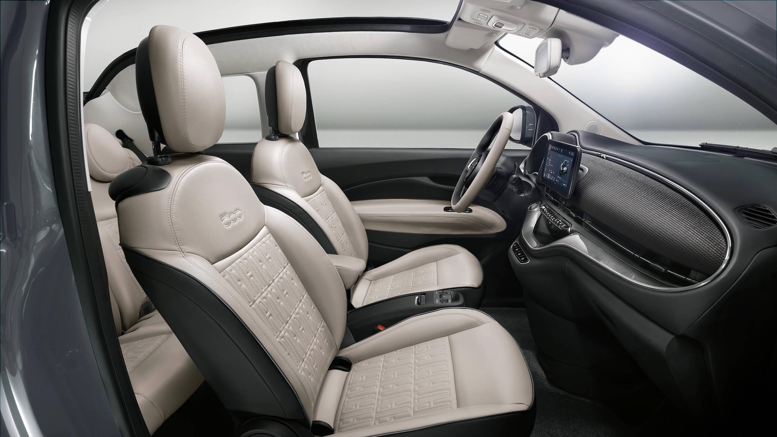 Nieuwe Fiat 500e zetels 2021
