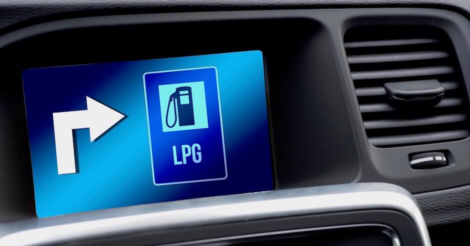 Scherm in LPG auto