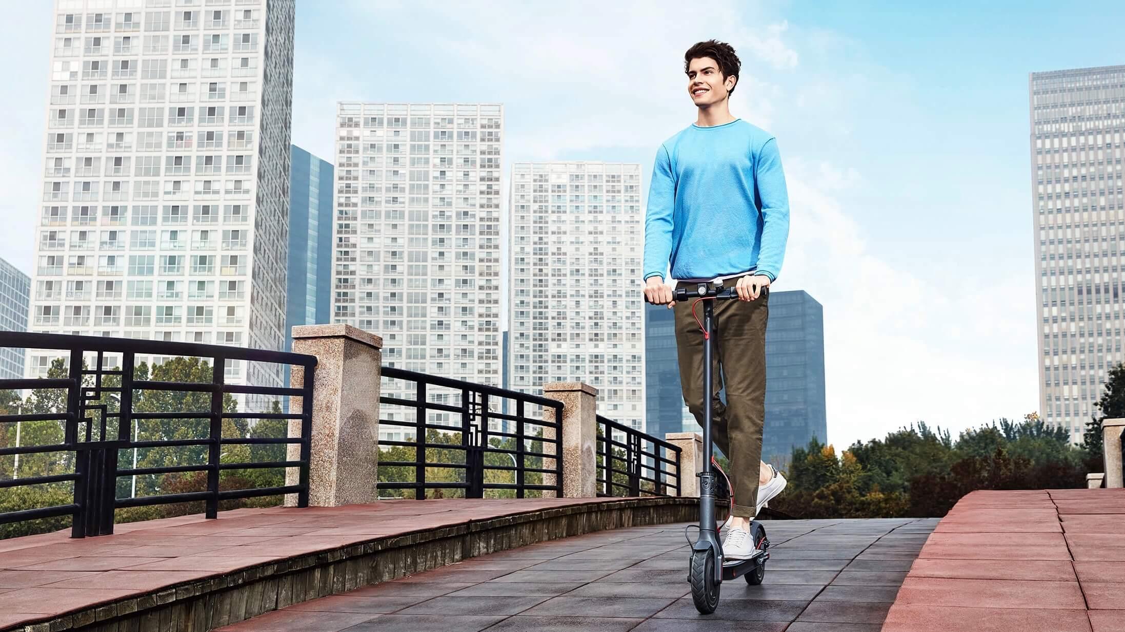 Rijden op Xiaomi elektrische step