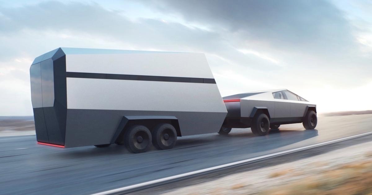 Tesla Cybertruck met aanhangwagen