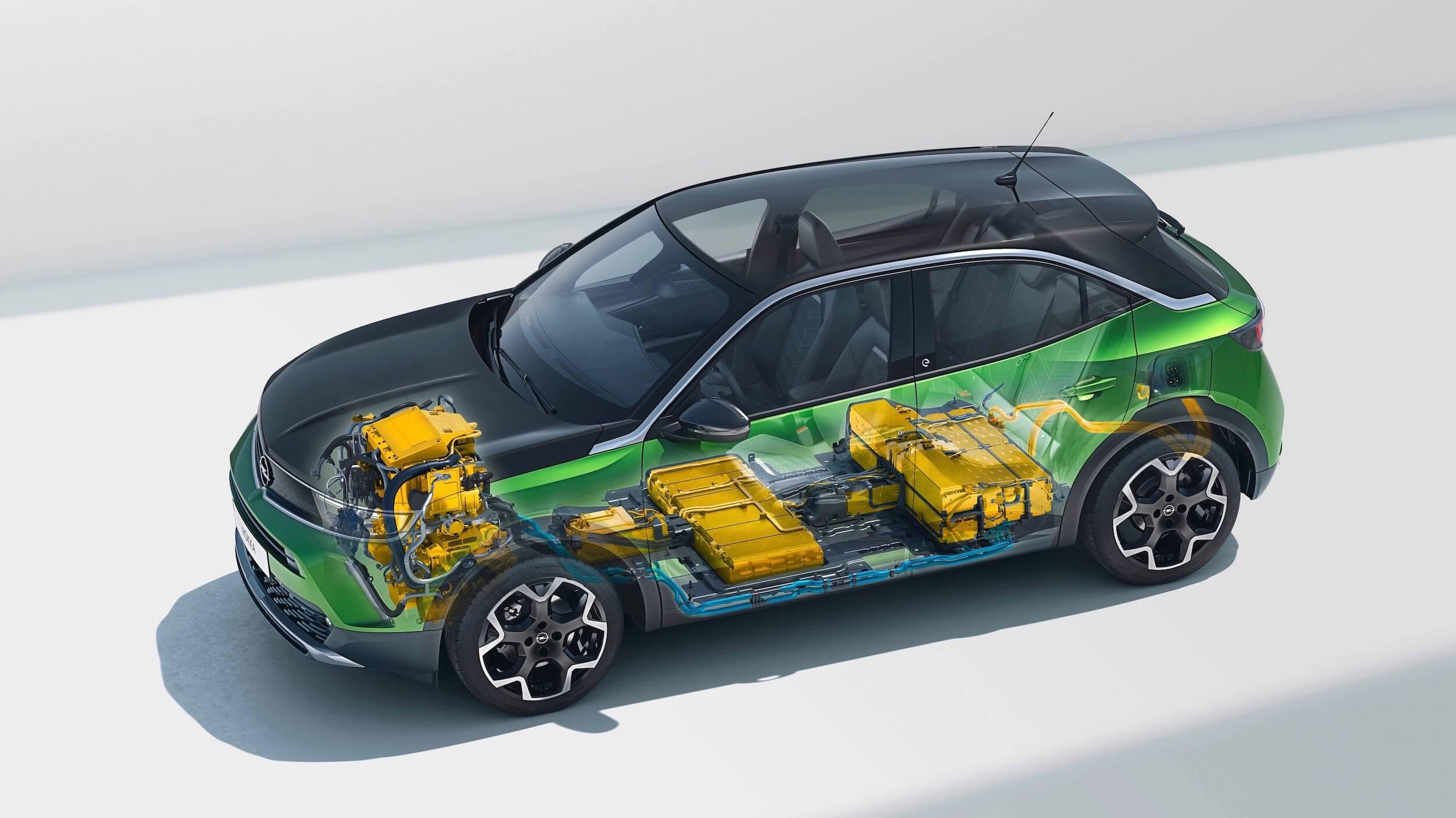 Elektrische Opel Mokka e batterij en aandrijflijn