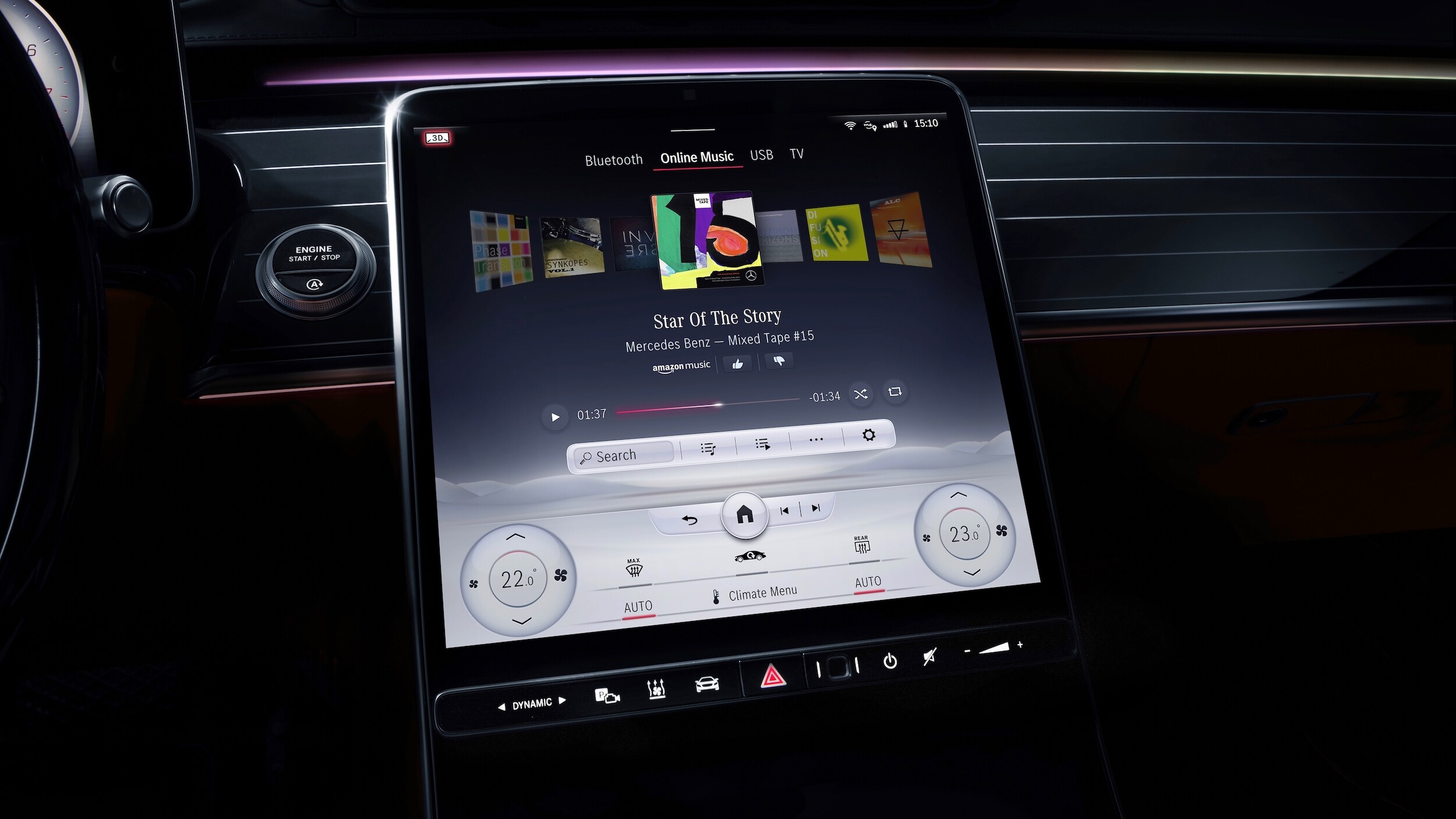 Mercedes S 580e infotainment scherm