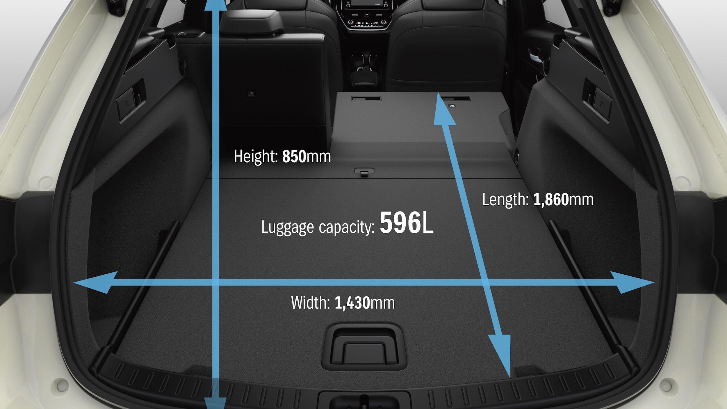Suzuki Swace hybride koffer afmetingen
