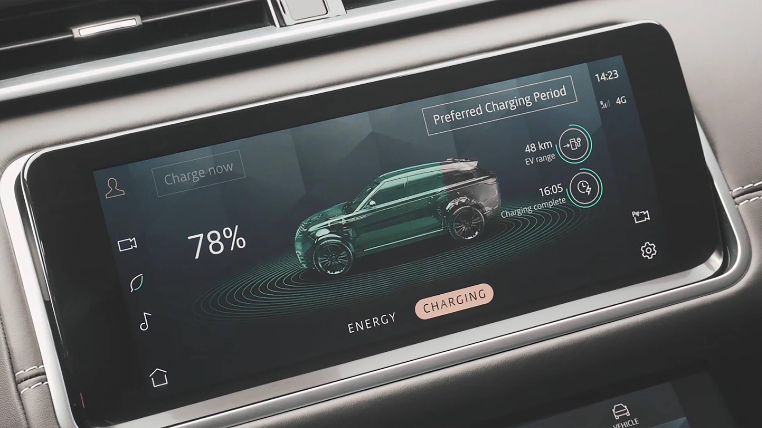 Range Rover Velar P400e infotainment scherm
