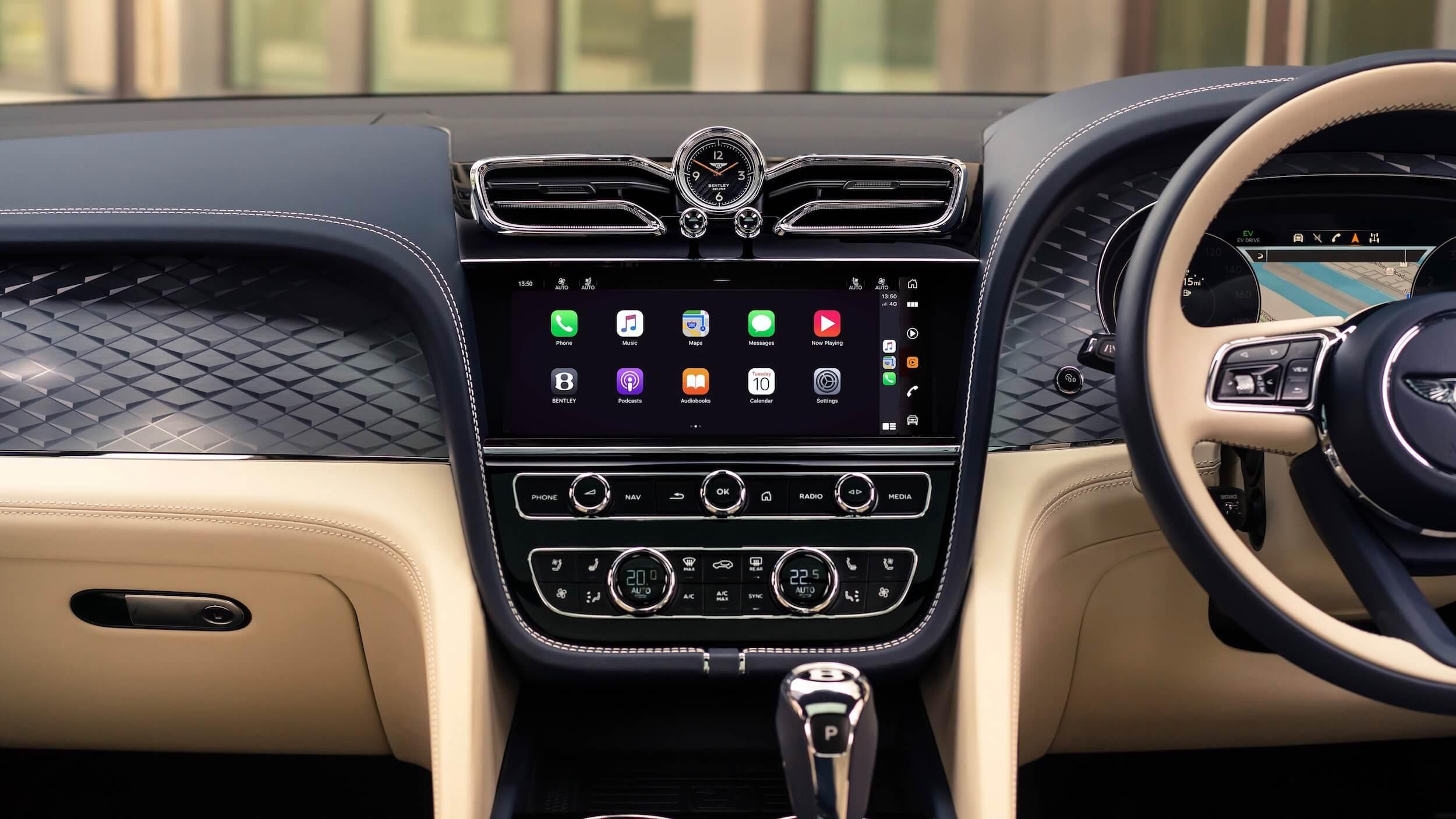 Bentley Bentayga PHEV dashboard scherm