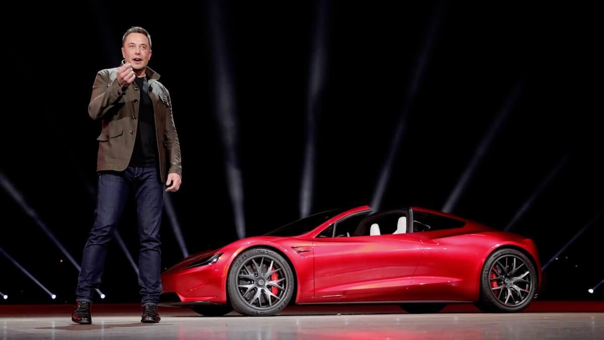 Elon Musk en Tesla Roadster