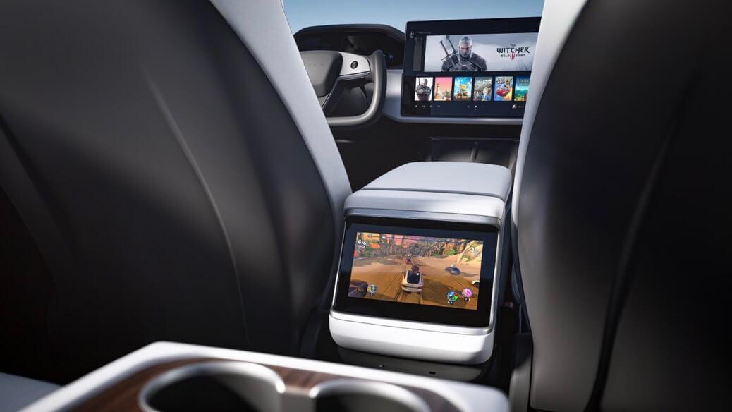 Tesla Model S scherm achteraan