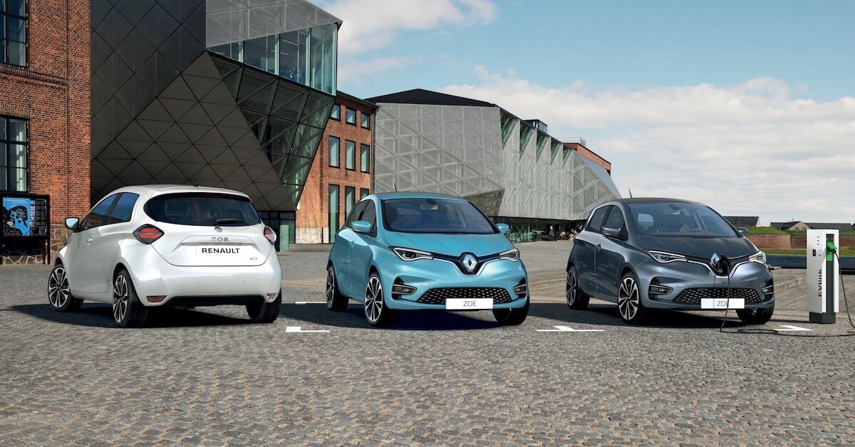 Drie Renault ZOEs naast elkaar