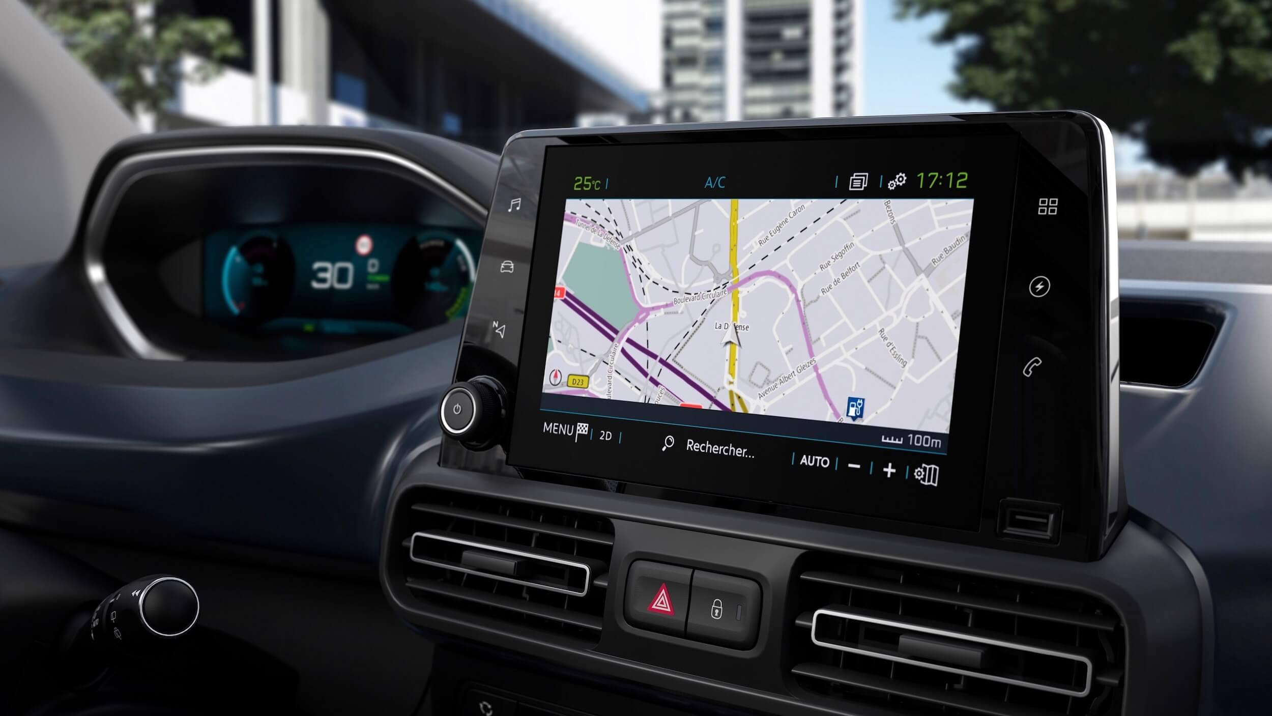 Peugeot e Rifter infotainment scherm