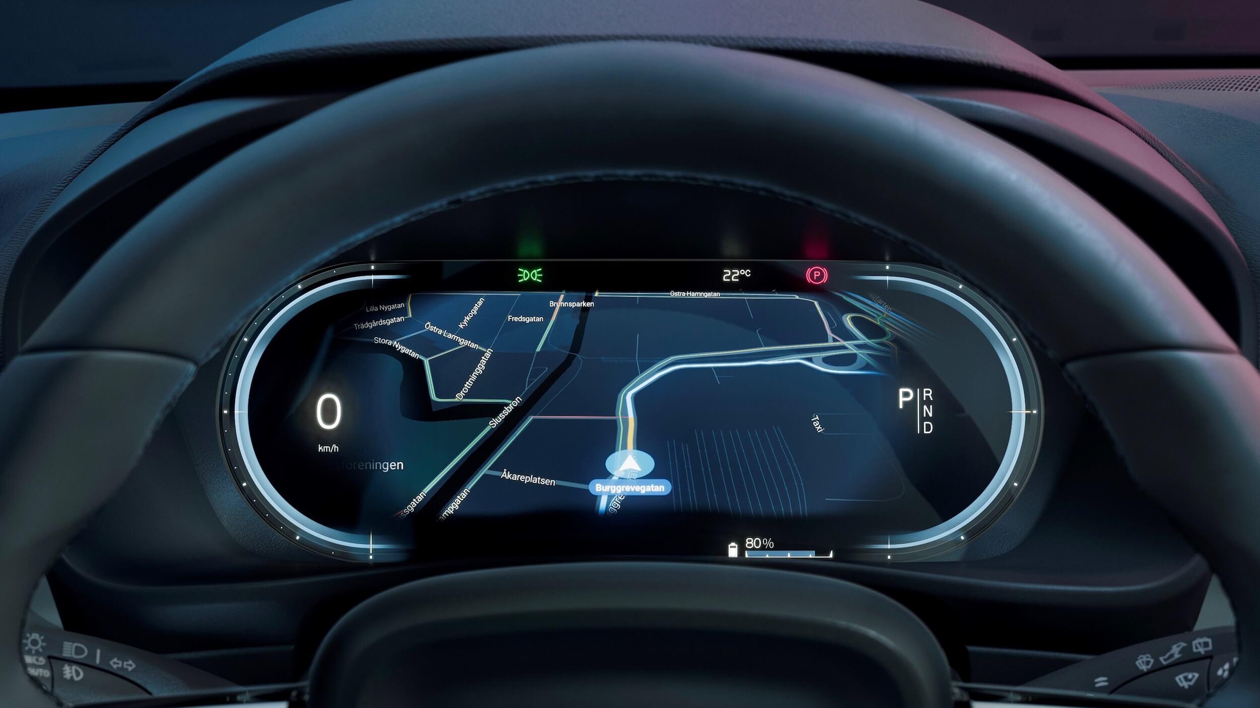 Volvo C40 Recharge snelheidsteller