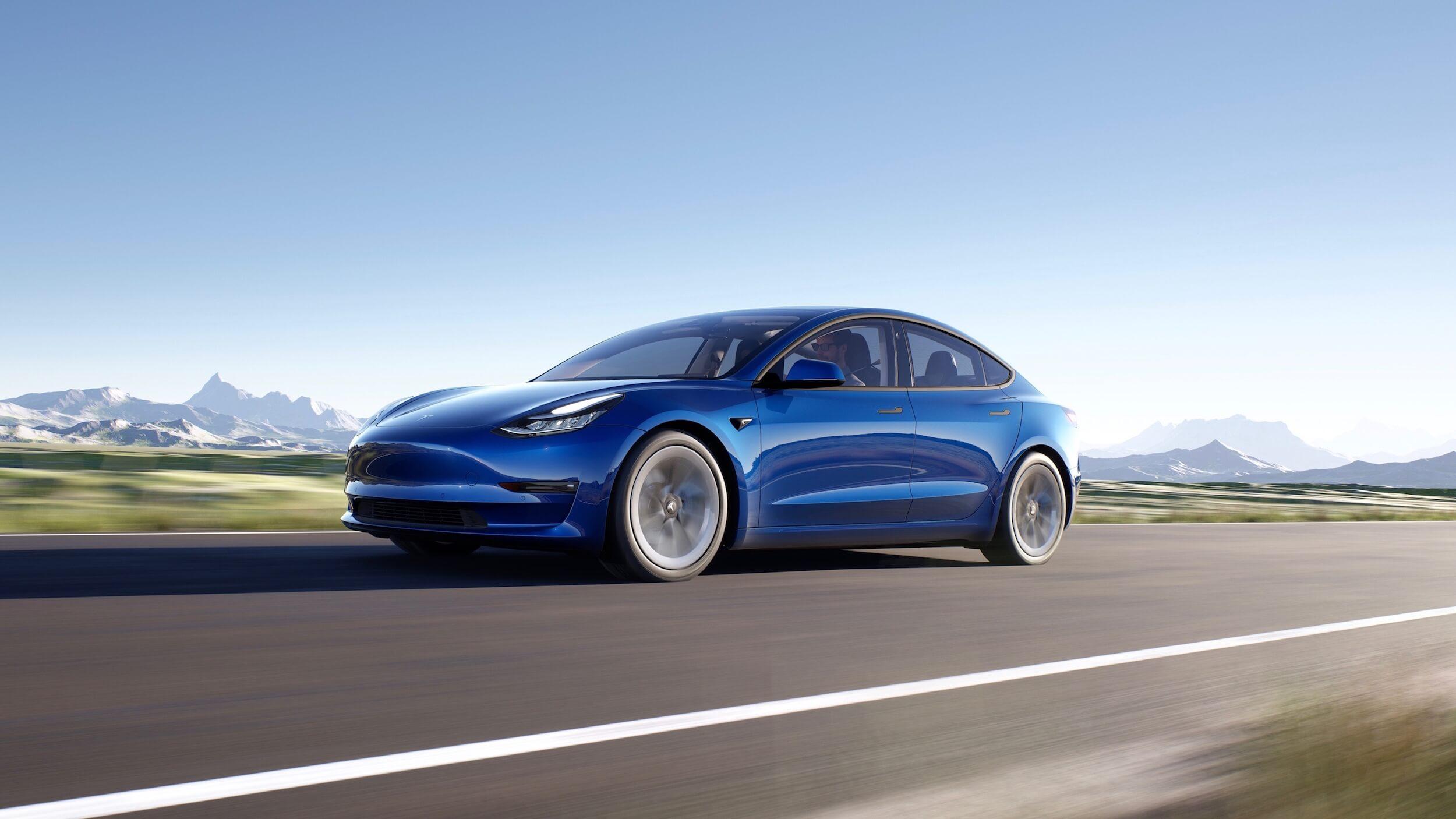 2021 Tesla Model 3 blauw