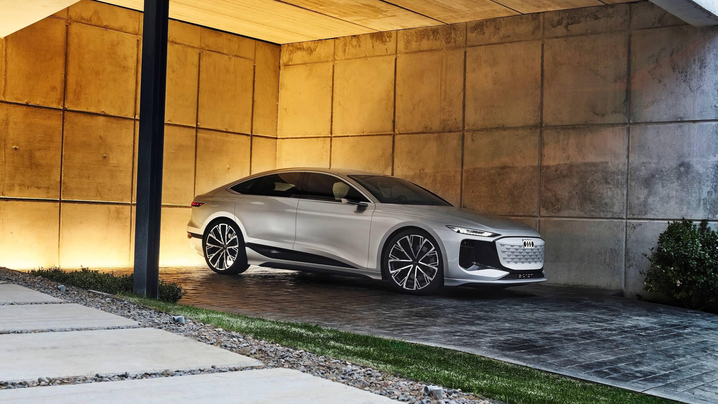 Audi A6 e tron in fancy garage