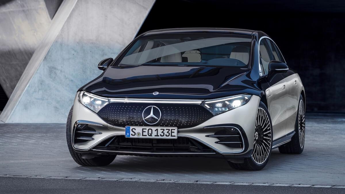 Elektrische Mercedes EQS voorkant